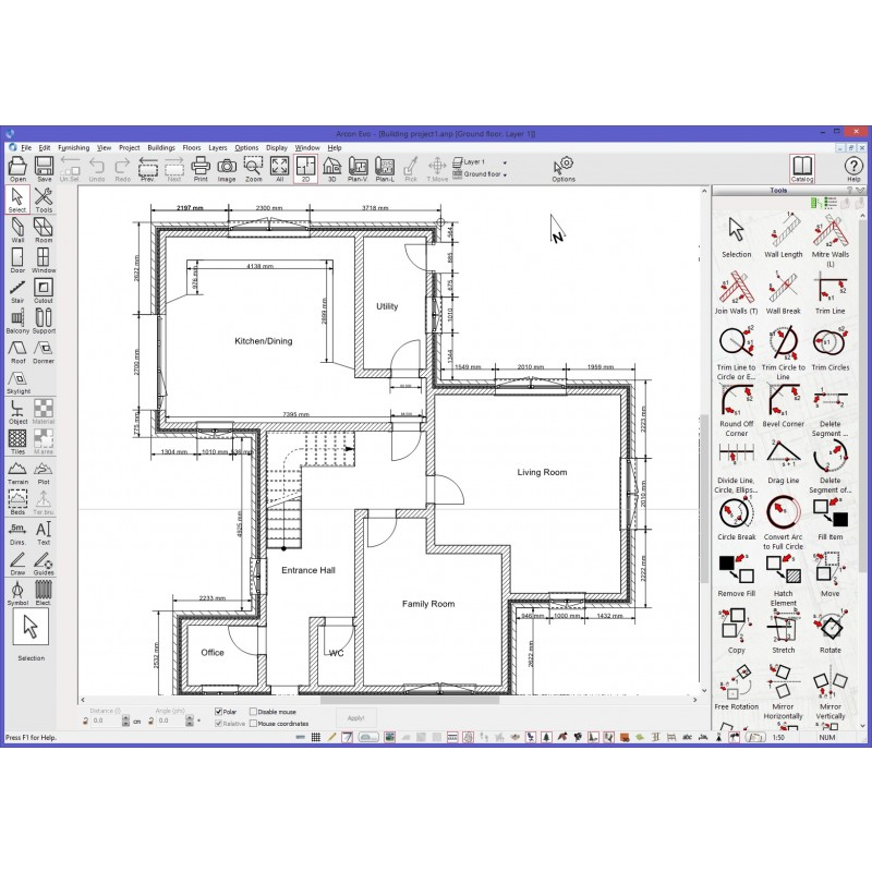 floor plan in construction mode