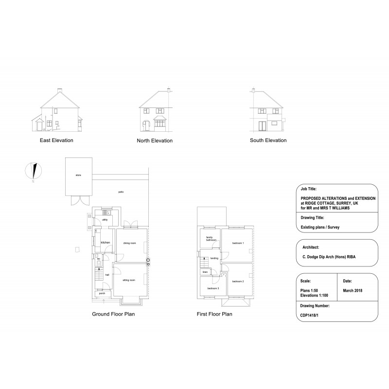 existing elevations and floor plans