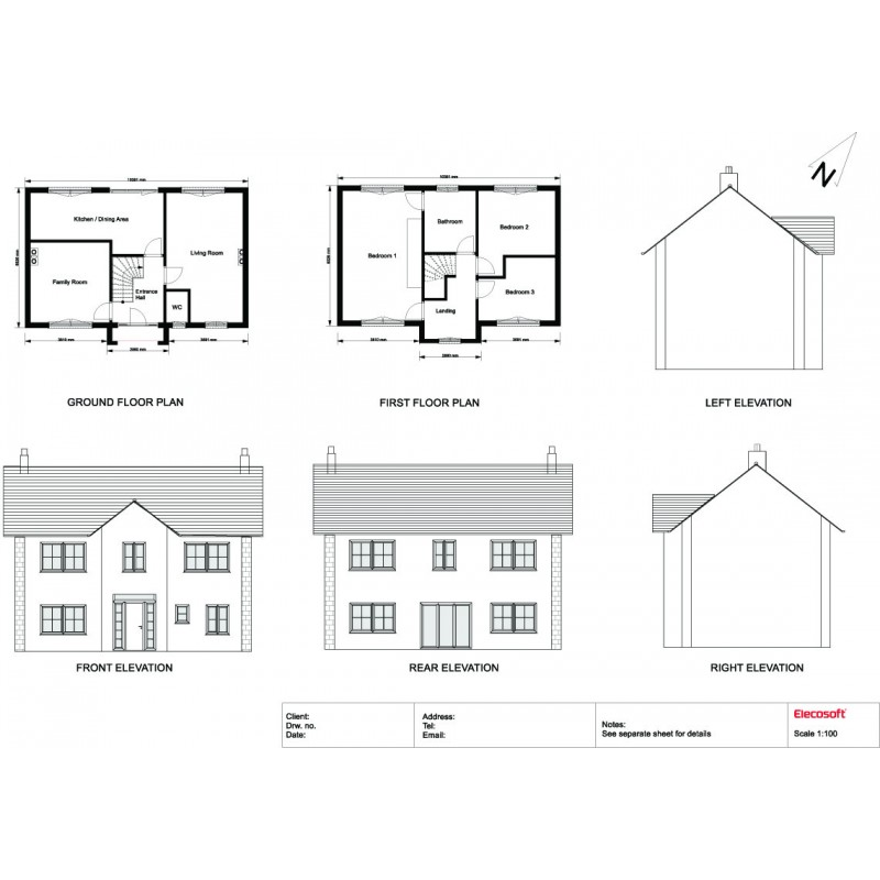 2D elevations and floor plans