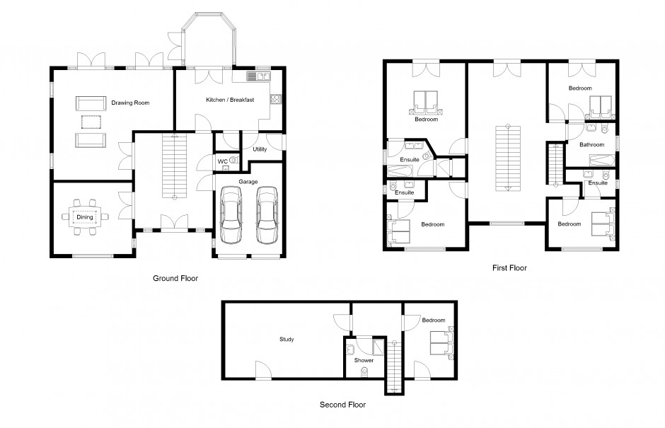 2D Drawing Gallery | Floor Plans | House Plans