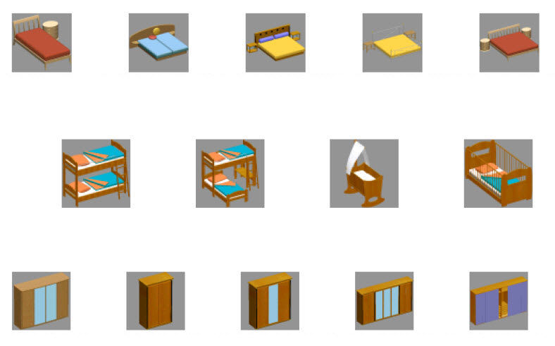3D objects beds for interior design
