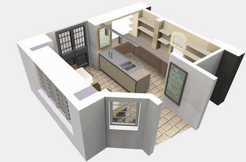 3D floor plan for a modern room  Room 3d Floor Plan Software Free with  awesome modern interior design .