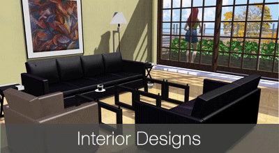 Interior designs for kitchen, bathroom and living room